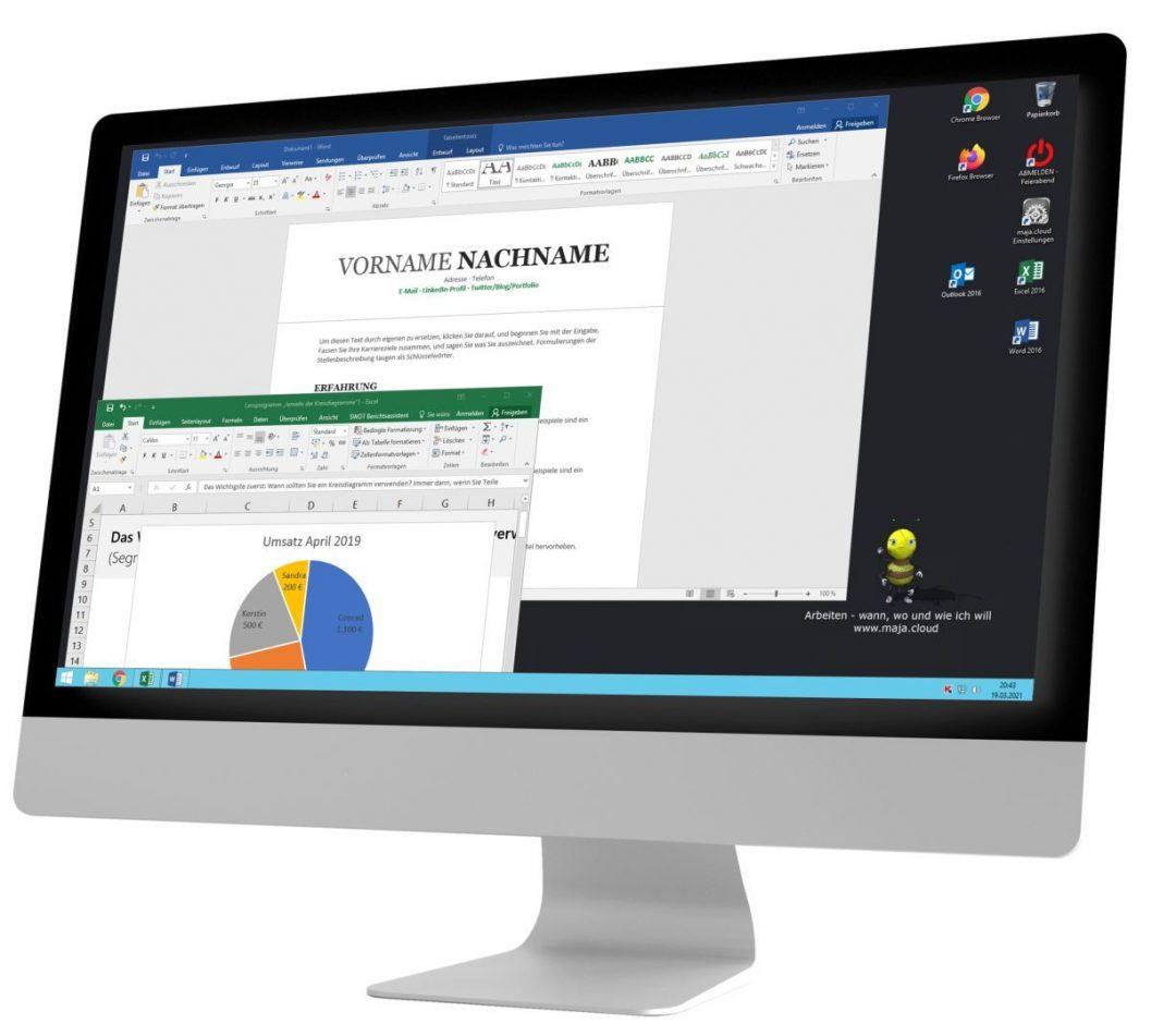Macbildschirm mit Word und Excel in der maja.cloud