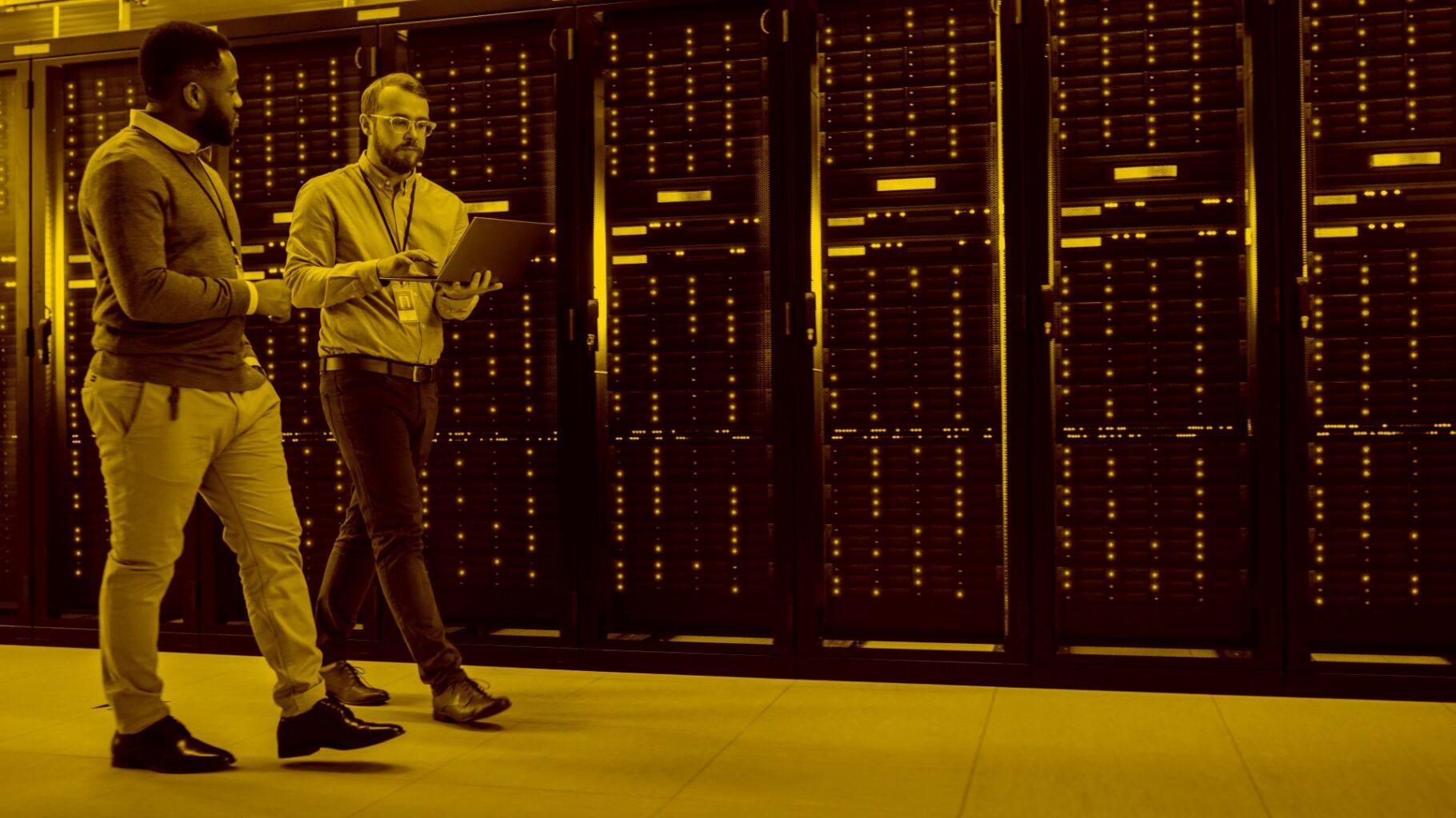 Techniker überprüfen Hardware für die maja.cloud